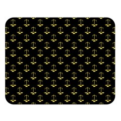 Gold Scales Of Justice On Black Repeat Pattern All Over Print  Double Sided Flano Blanket (large)  by PodArtist