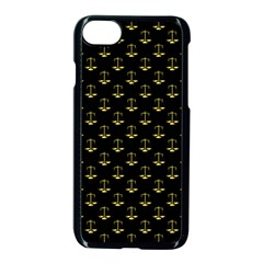 Gold Scales Of Justice On Black Repeat Pattern All Over Print  Apple Iphone 8 Seamless Case (black) by PodArtist