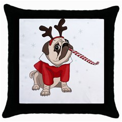 Pug Xmas Throw Pillow Case (black) by Valentinaart