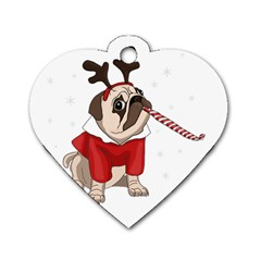 Pug Xmas Dog Tag Heart (one Side) by Valentinaart