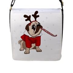 Pug Xmas Flap Messenger Bag (l)  by Valentinaart