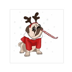 Pug Xmas Small Satin Scarf (square) by Valentinaart
