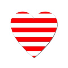Christmas Red And White Cabana Stripes Heart Magnet by PodArtist
