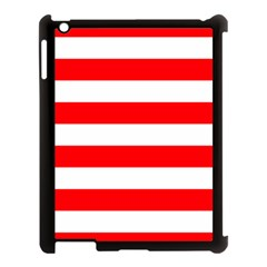 Christmas Red And White Cabana Stripes Apple Ipad 3/4 Case (black) by PodArtist