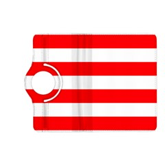 Christmas Red And White Cabana Stripes Kindle Fire Hd (2013) Flip 360 Case by PodArtist