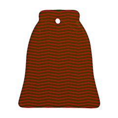 Christmas Red And Green Chevron Zig Zag Stripes Bell Ornament (two Sides) by PodArtist