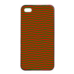 Christmas Red And Green Chevron Zig Zag Stripes Apple Iphone 4/4s Seamless Case (black) by PodArtist