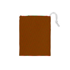 Christmas Red And Green Chevron Zig Zag Stripes Drawstring Pouches (small)  by PodArtist