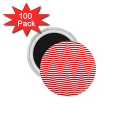 Christmas Red And White Chevron Stripes 1 75  Magnets (100 Pack)  by PodArtist