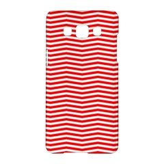 Christmas Red And White Chevron Stripes Samsung Galaxy A5 Hardshell Case  by PodArtist