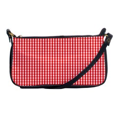 Small Snow White And Christmas Red Gingham Check Plaid Shoulder Clutch Bags by PodArtist