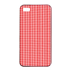 Small Snow White And Christmas Red Gingham Check Plaid Apple Iphone 4/4s Seamless Case (black) by PodArtist