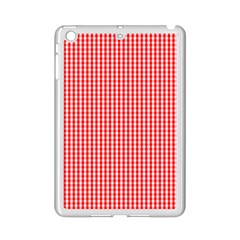 Small Snow White And Christmas Red Gingham Check Plaid Ipad Mini 2 Enamel Coated Cases by PodArtist
