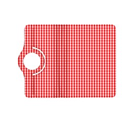 Small Snow White And Christmas Red Gingham Check Plaid Kindle Fire Hd (2013) Flip 360 Case by PodArtist