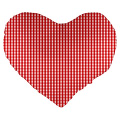 Small Snow White And Christmas Red Gingham Check Plaid Large 19  Premium Flano Heart Shape Cushions by PodArtist
