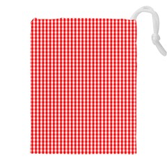 Small Snow White And Christmas Red Gingham Check Plaid Drawstring Pouches (xxl) by PodArtist