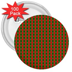 Large Red And Green Christmas Gingham Check Tartan Plaid 3  Buttons (100 Pack)  by PodArtist