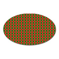 Large Red And Green Christmas Gingham Check Tartan Plaid Oval Magnet by PodArtist