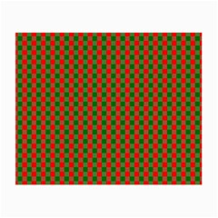 Large Red And Green Christmas Gingham Check Tartan Plaid Small Glasses Cloth by PodArtist
