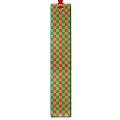Large Red And Green Christmas Gingham Check Tartan Plaid Large Book Marks by PodArtist