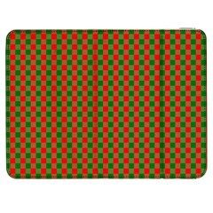 Large Red And Green Christmas Gingham Check Tartan Plaid Samsung Galaxy Tab 7  P1000 Flip Case by PodArtist