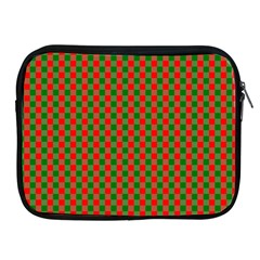 Large Red And Green Christmas Gingham Check Tartan Plaid Apple Ipad 2/3/4 Zipper Cases by PodArtist