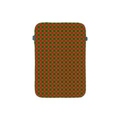 Large Red And Green Christmas Gingham Check Tartan Plaid Apple Ipad Mini Protective Soft Cases by PodArtist