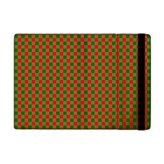 Large Red And Green Christmas Gingham Check Tartan Plaid Ipad Mini 2 Flip Cases by PodArtist
