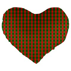 Large Red And Green Christmas Gingham Check Tartan Plaid Large 19  Premium Flano Heart Shape Cushions by PodArtist
