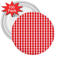 Large Christmas Red And White Gingham Check Plaid 3  Buttons (100 Pack)  by PodArtist