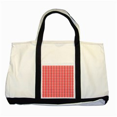 Large Christmas Red And White Gingham Check Plaid Two Tone Tote Bag by PodArtist