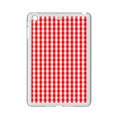 Large Christmas Red And White Gingham Check Plaid Ipad Mini 2 Enamel Coated Cases by PodArtist