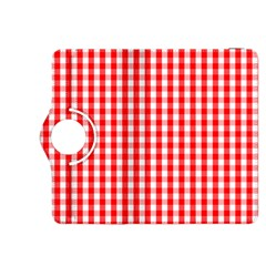 Large Christmas Red And White Gingham Check Plaid Kindle Fire Hdx 8 9  Flip 360 Case by PodArtist