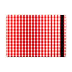 Large Christmas Red And White Gingham Check Plaid Ipad Mini 2 Flip Cases by PodArtist