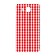 Large Christmas Red And White Gingham Check Plaid Samsung Galaxy Alpha Hardshell Back Case by PodArtist