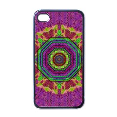 Mandala In Heavy Metal Lace And Forks Apple Iphone 4 Case (black) by pepitasart