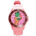 Time is money  - Round Plastic Sport Watch (L)