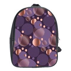 Random Polka Dots, Fun, Colorful, Pattern,xmas,happy,joy,modern,trendy,beautiful,pink,purple,metallic,glam, School Bag (large) by 8fugoso