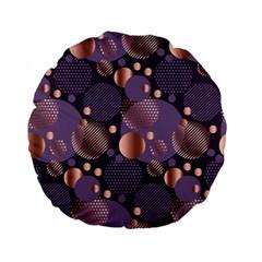 Random Polka Dots, Fun, Colorful, Pattern,xmas,happy,joy,modern,trendy,beautiful,pink,purple,metallic,glam, Standard 15  Premium Flano Round Cushions by 8fugoso