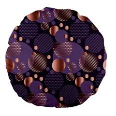 Random Polka Dots, Fun, Colorful, Pattern,xmas,happy,joy,modern,trendy,beautiful,pink,purple,metallic,glam, Large 18  Premium Flano Round Cushions by 8fugoso