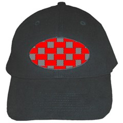 Black And White Red Patterns Black Cap by Celenk