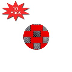 Black And White Red Patterns 1  Mini Magnet (10 Pack)  by Celenk
