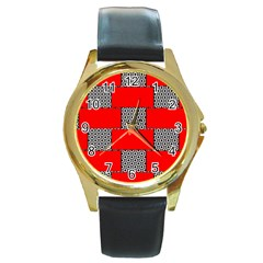 Black And White Red Patterns Round Gold Metal Watch by Celenk
