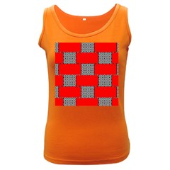 Black And White Red Patterns Women s Dark Tank Top by Celenk