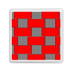 Black And White Red Patterns Memory Card Reader (square)