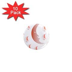 Moon Moonface Pattern Outlines 1  Mini Magnet (10 Pack)  by Celenk