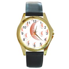 Moon Moonface Pattern Outlines Round Gold Metal Watch by Celenk