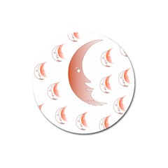 Moon Moonface Pattern Outlines Magnet 3  (round) by Celenk
