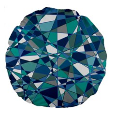 Abstract Background Blue Teal Large 18  Premium Round Cushions by Celenk