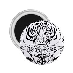 Tiger Animal Decoration Flower 2 25  Magnets by Celenk